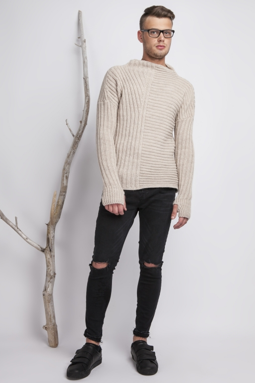 Asymmetrical high collar sweater with thumb hole, beige