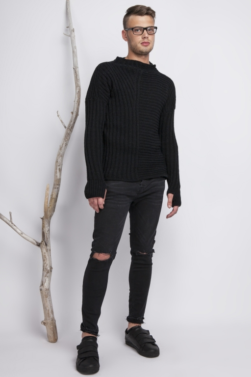 Asymmetrical high collar sweater with thumb hole, black