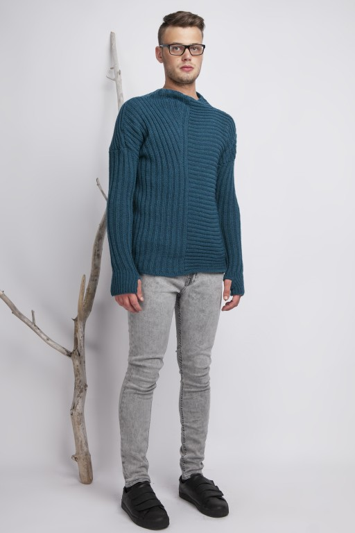 Asymmetrical high collar sweater with thumb hole, turquoise