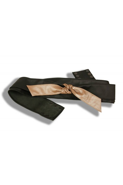 Leather, layered belt with a tie