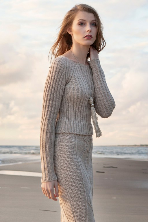 Fitted, stripped sweater, beige