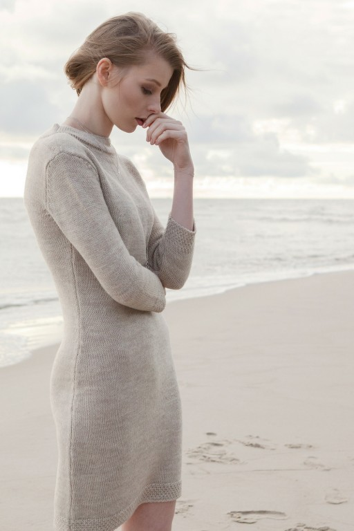 Classic, knitted dress with high collar, beige