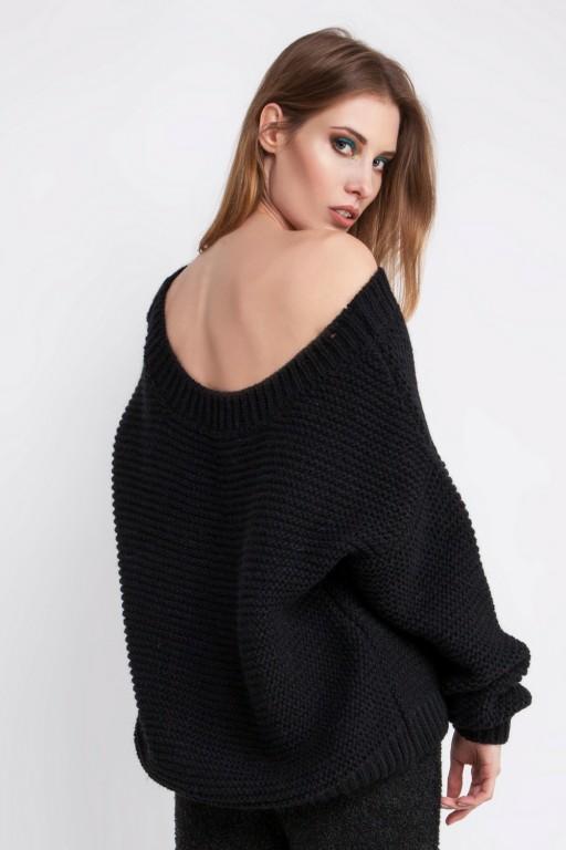 Sweter o grubym splocie z odkrytymi plecami, czarny