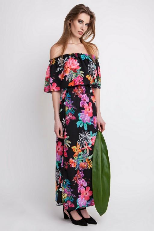 Zjawiskowa sukienka w stylu hiszpańskim z falbaną, czarne tło