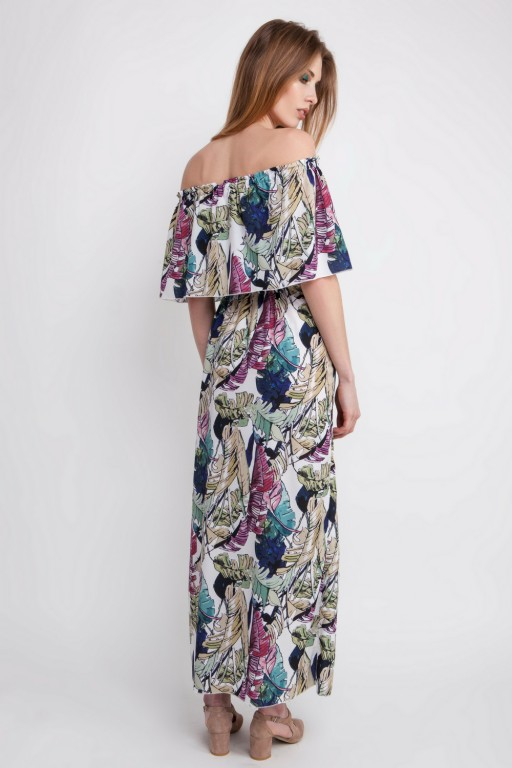 Zjawiskowa sukienka w stylu hiszpańskim z falbaną, w palmy