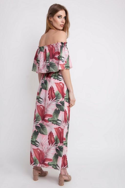 Zjawiskowa sukienka w stylu hiszpańskim z falbaną, w liście na różowym tle
