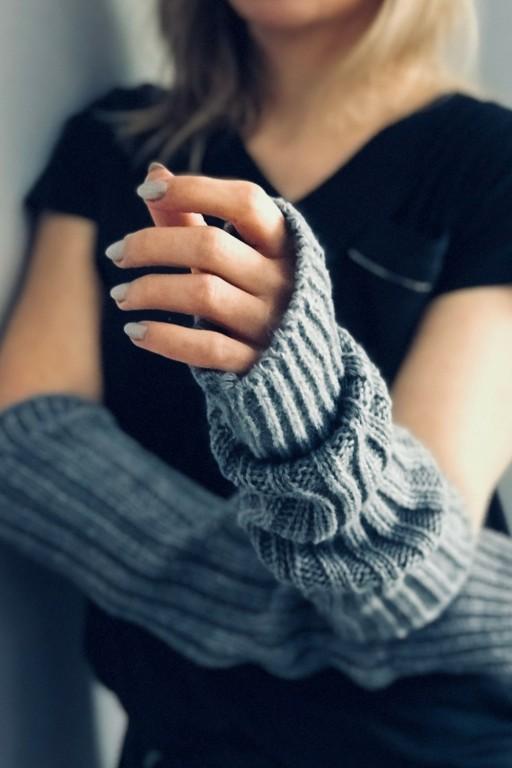 Wełniane rękawice bez palców, szare