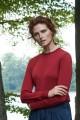 Klasyczny sweter z wełny merynos, czerwony