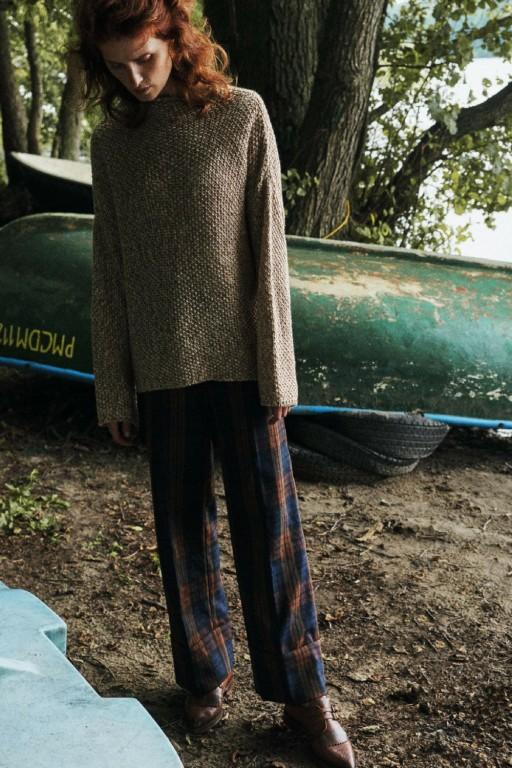 Oversizowy sweter melanżowy, beżowy