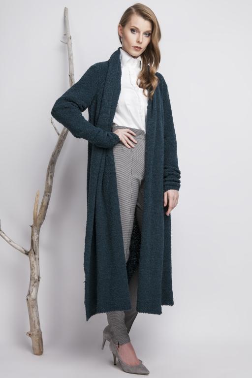 Oversizowy płaszcz z przędzy typu Bouclé, turkusowy