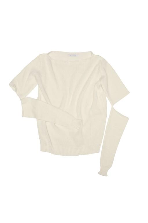 Sweter z pęknięciami na rękawach, écru