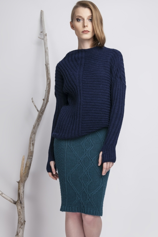 Asymmetrical high collar sweater with thumb hole, navy