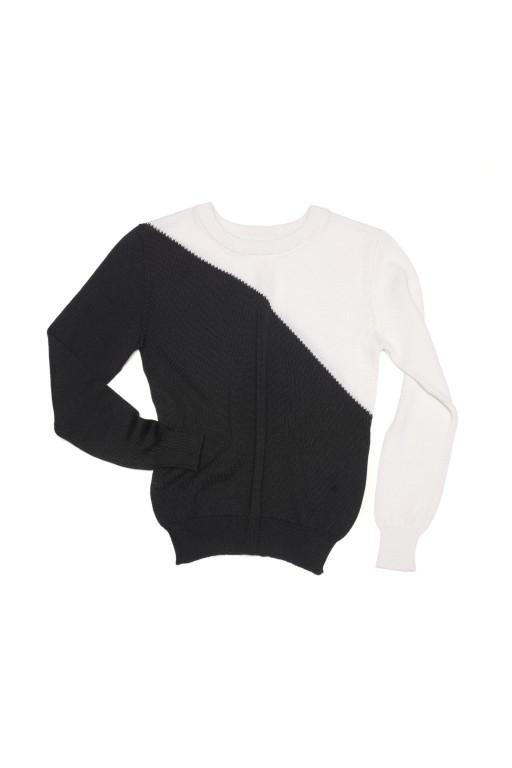 Dwukolorowy cienki sweter