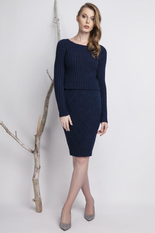 Knitwear pencil skirt, navy