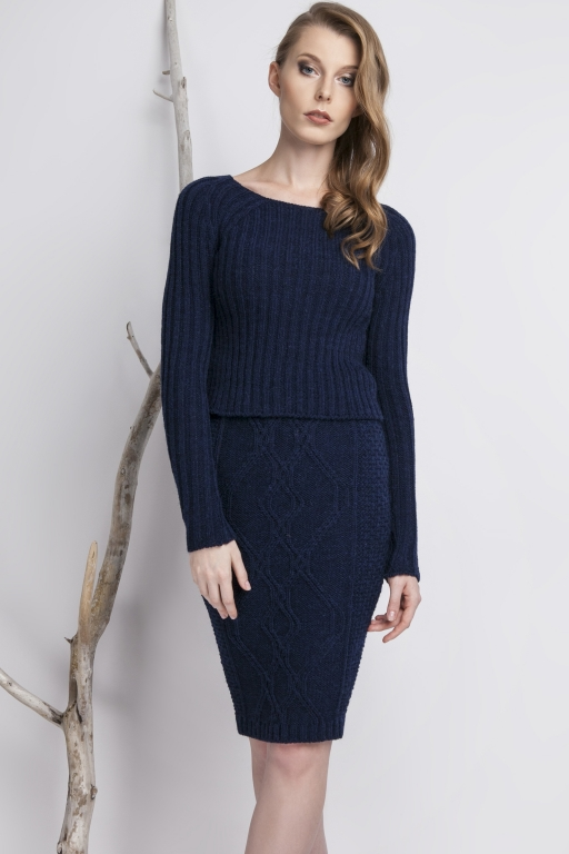 Knitwear pencil skirt, navy
