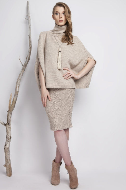 Plain turtleneck poncho, beige