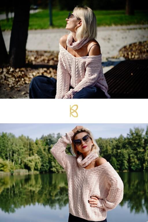 Bawełniany sweter w warkocze z oddzielnym golfem, różowy