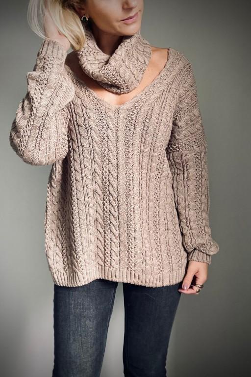 Bawełniany sweter w warkocze z oddzielnym golfem, mokka