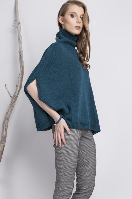 Plain turtleneck poncho, turquoise