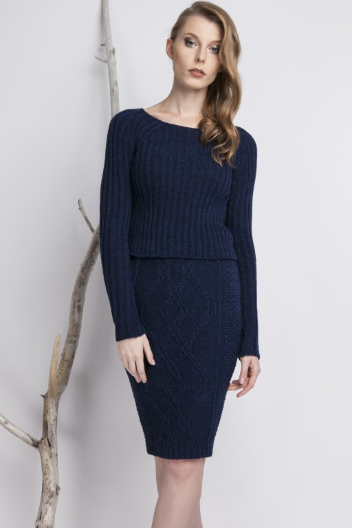 Fitted, stripped sweater, navy