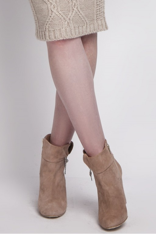 Handmade suede boots with safety-pins