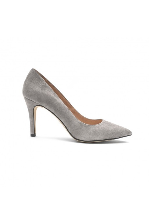 Handmade suede pumps, gray
