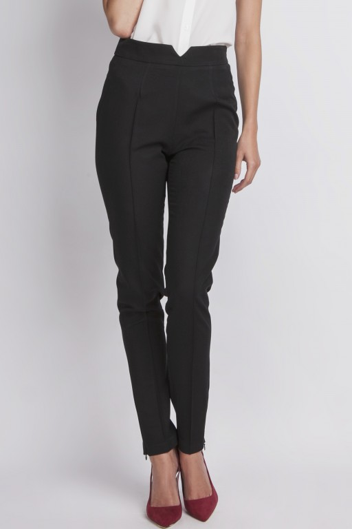 High waist trousers, black