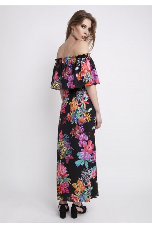 Zjawiskowa sukienka w stylu hiszpańskimi z falbaną