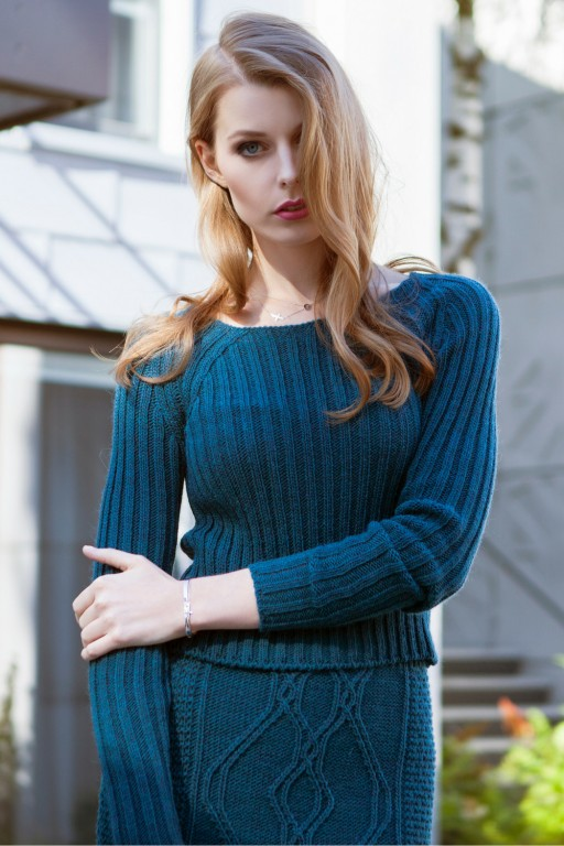 Fitted, stripped sweater, turquoise