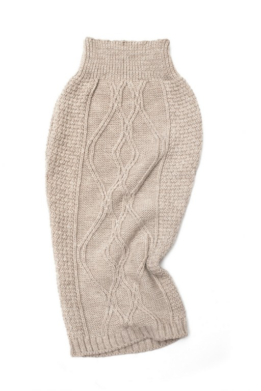 Knitwear pencil skirt, beige