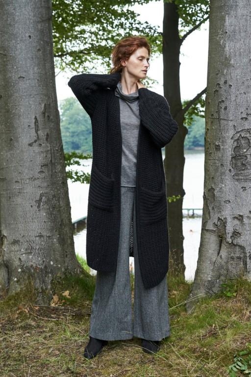 Wełniany, długi kardigan z kieszeniami, czarny
