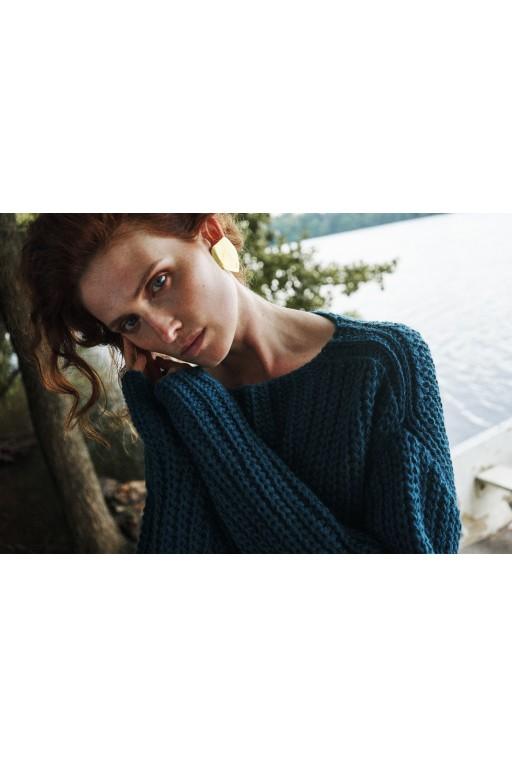 Wełniany, oversizowy sweter, turkusowy