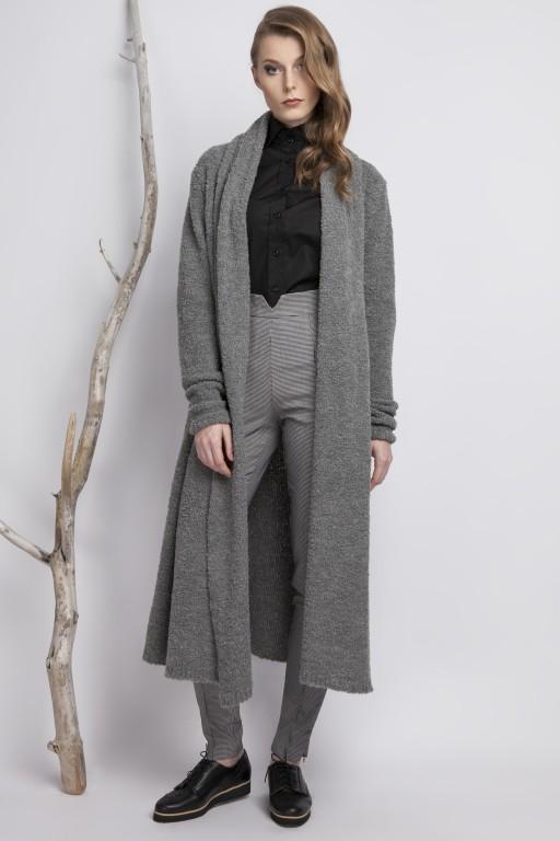 Oversizowy płaszcz z przędzy typu bouclé