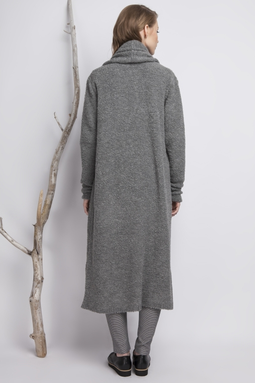 Oversizowy płaszcz z przędzy typu Bouclé, szary