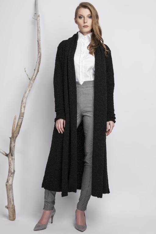 Oversizowy płaszcz z przędzy typu Bouclé, czarny