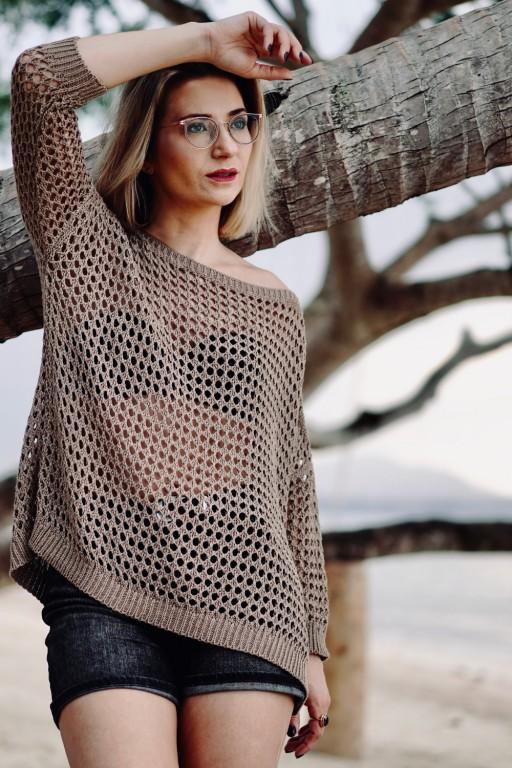 Ażurowy sweter, mokka