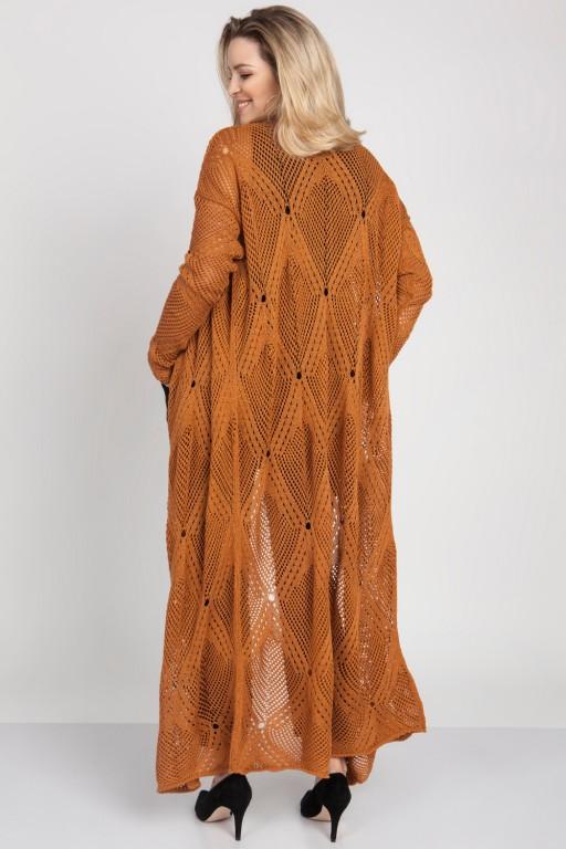 Płaszcz ażurowy w stylu boho, cynamonowy