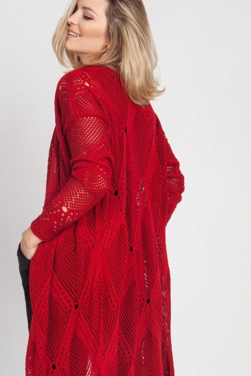 Płaszcz ażurowy w stylu boho, czerwony