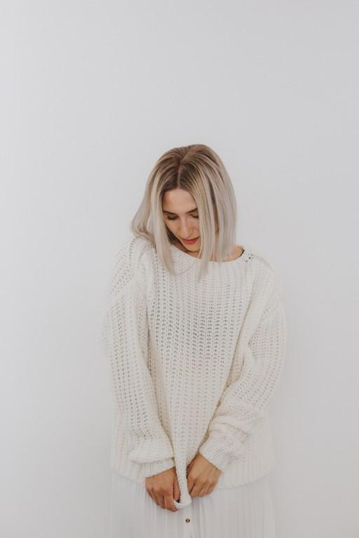 Wełniany, oversizowy sweter, ecru