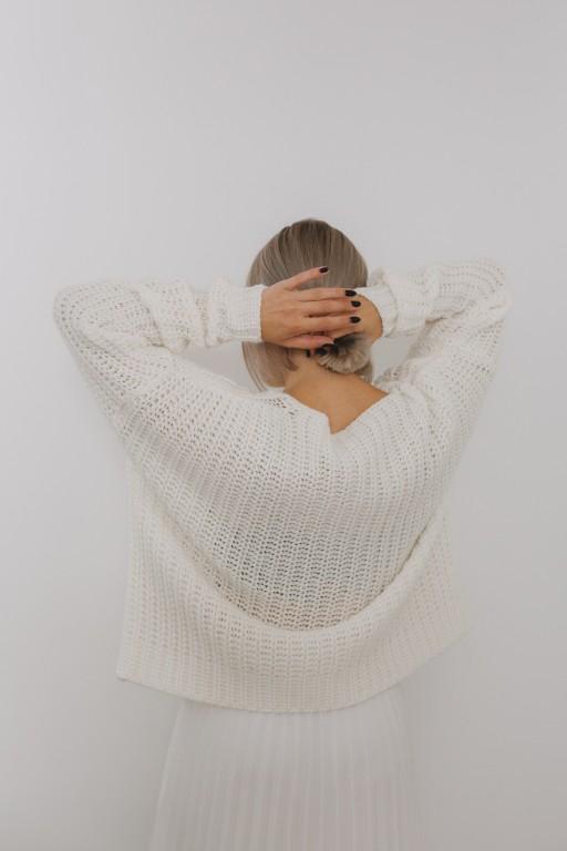 Wełniany, oversizowy sweter, écru