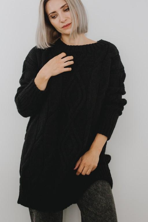Długi sweter/ sukienka w arany, czarny