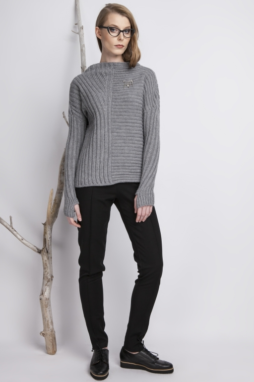 Asymmetrical high collar sweater with thumb hole, gray