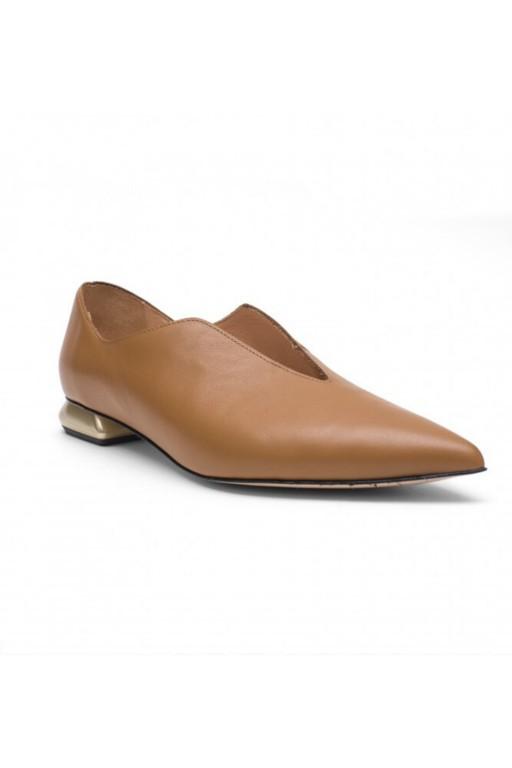 Skórzane buty na płaskim obcasie