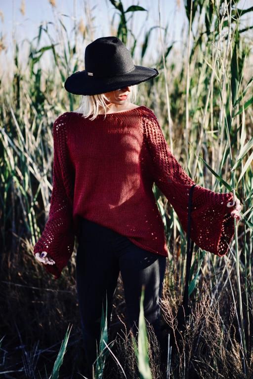 Sweter ze skrzydlatymi rękawami, marsala