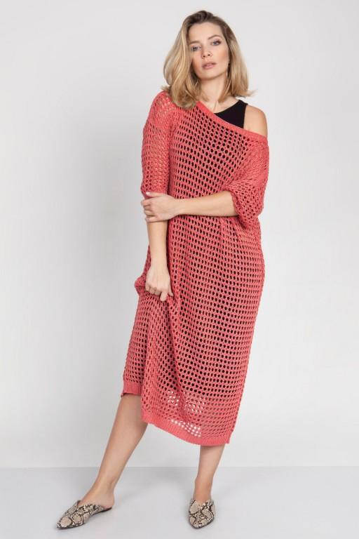 Sukienka z ażurowej sieci, kolarowa
