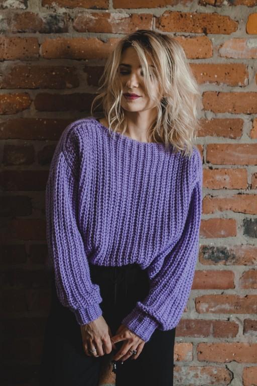 Wełniany, oversizowy sweter, lawendowy
