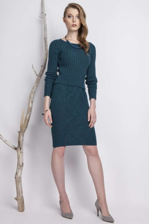 Knitwear pencil skirt, turquoise