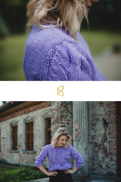 Wełniany sweter w warkocze, lawendowy