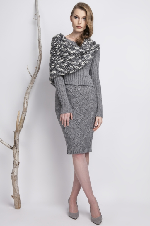 Knitwear pencil skirt, gray