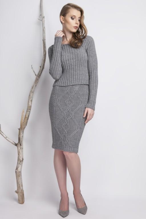 Knitwear pencil skirt, gray